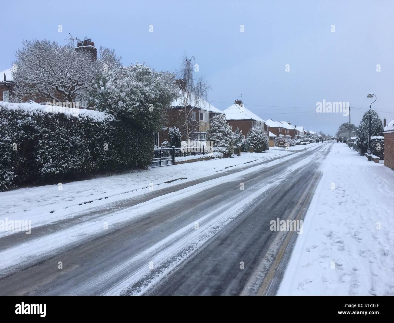 Snow on Racecourse Lane, Northallerton, England, UK. 27 February 2018 Stock Photo