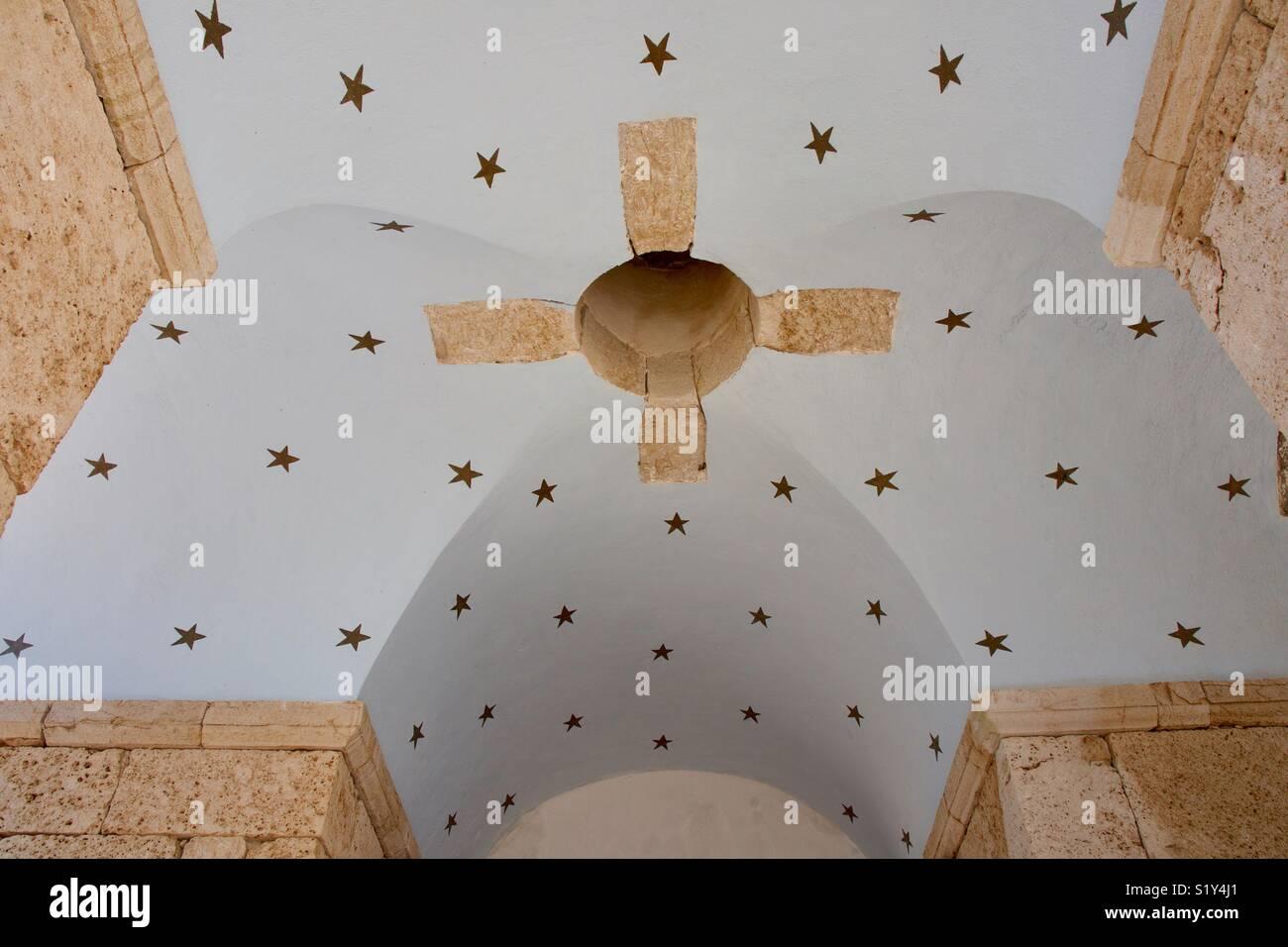 Detail of bell tower, Halki, Greece - Stock Image