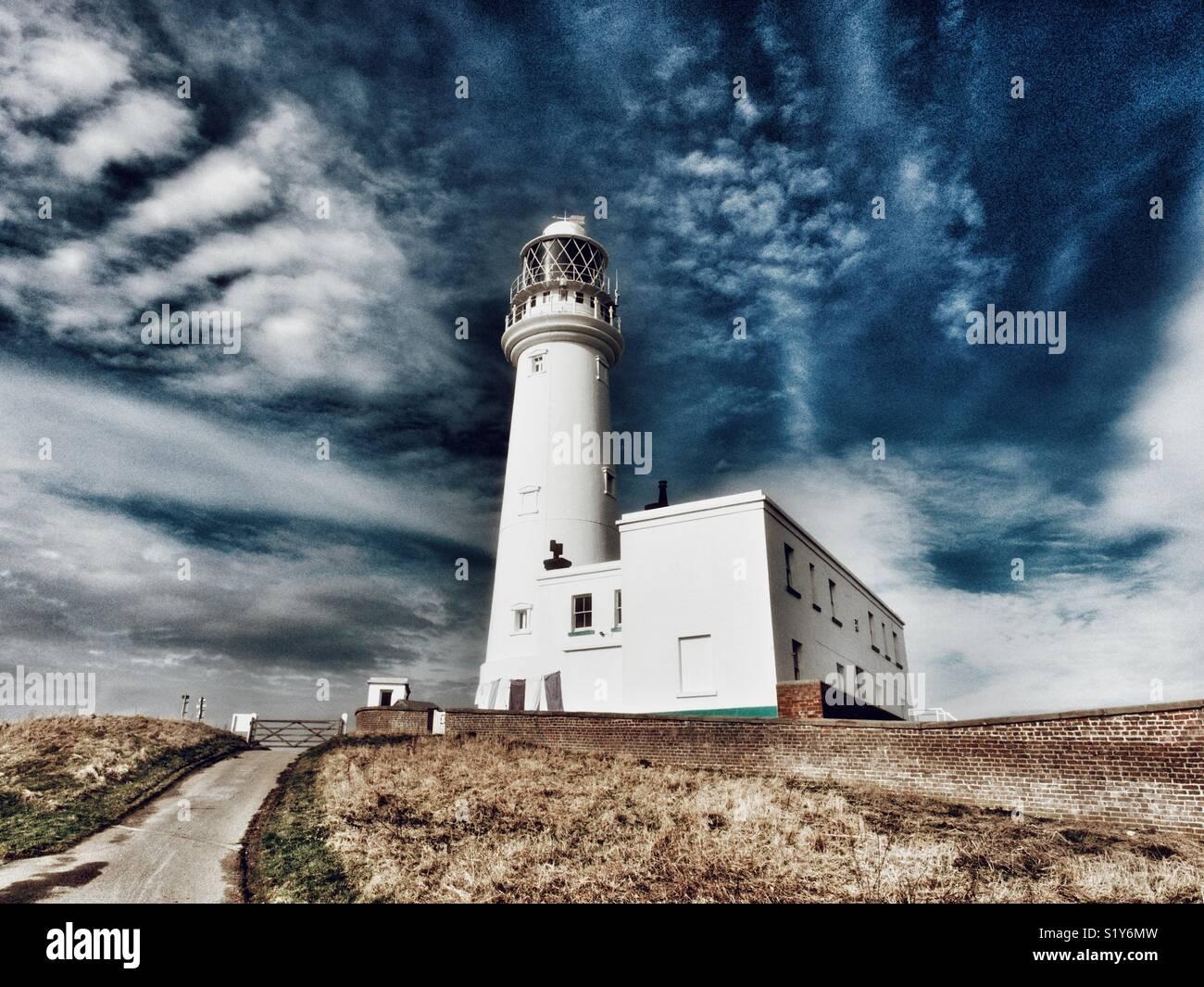 Flamborough Head lighthouse, East Yorkshire, England, UK Stock Photo