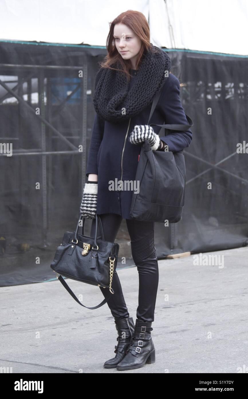 Fashion model street style during New York fashion week Stock Photo