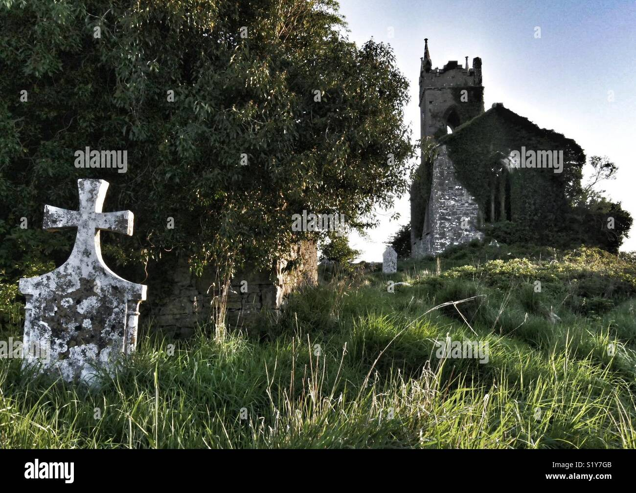 Derelict church and gravestones, Ballymore, Eire, Europe. Stock Photo