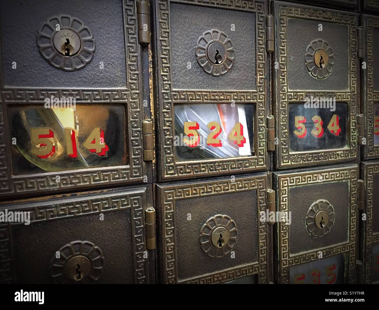 Vintage Decorative Post Office Boxes With Glass Doors In The US Post Office,  USA