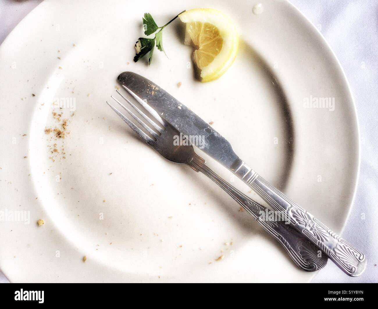 Empty plate with knife and fork in the 'meal finished' position and slice of lemon. Stock Photo