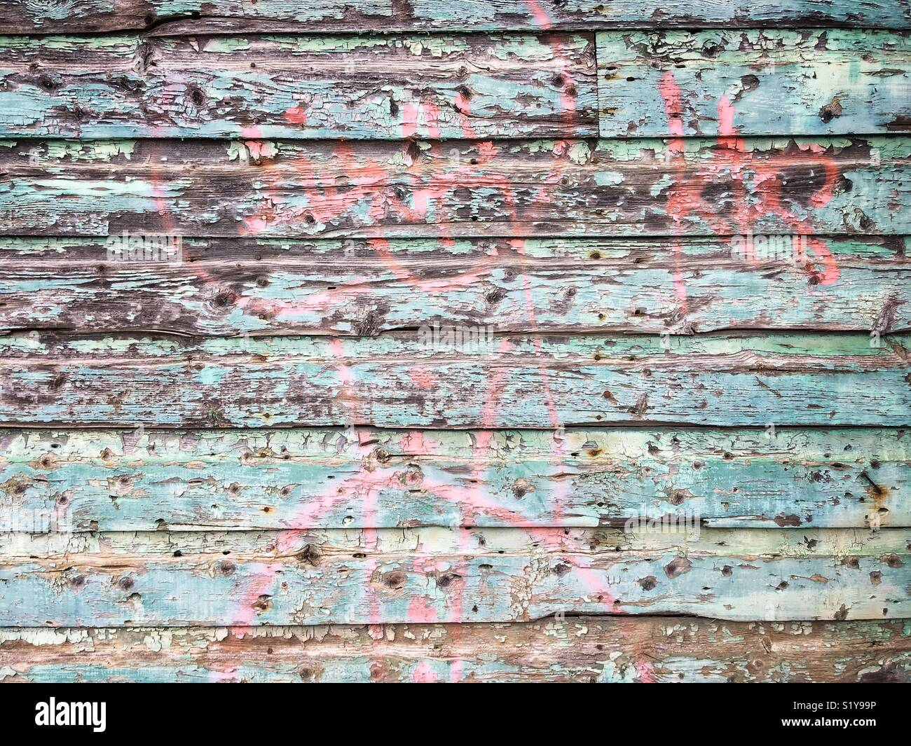 Decrepit wooden wall - Stock Image