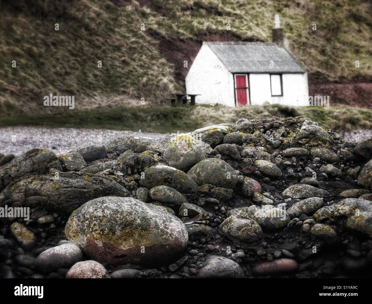 Small hut on beach, East coast of Scotland, UK Stock Photo
