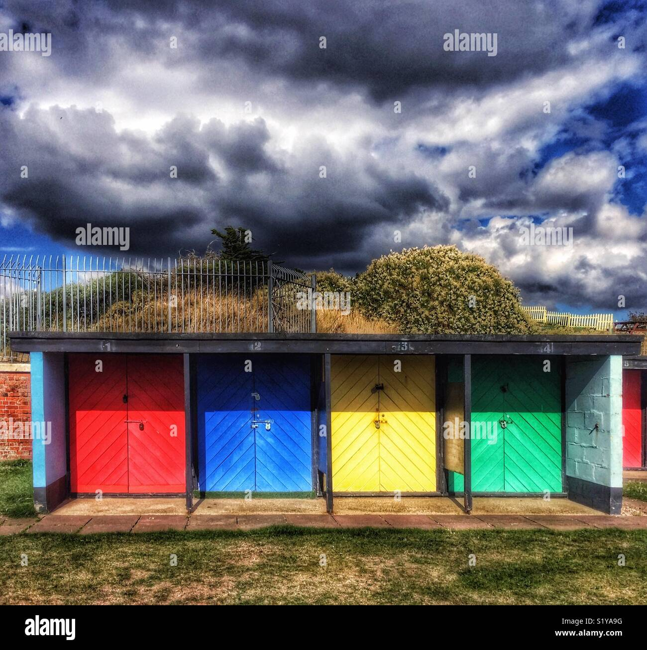 Beach huts, Southsea, Portsmouth, Hampshire, England, UK Stock Photo