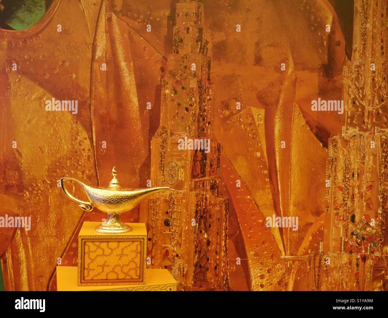 Aladdin's lamp, theatre prop, New York, USA Stock Photo