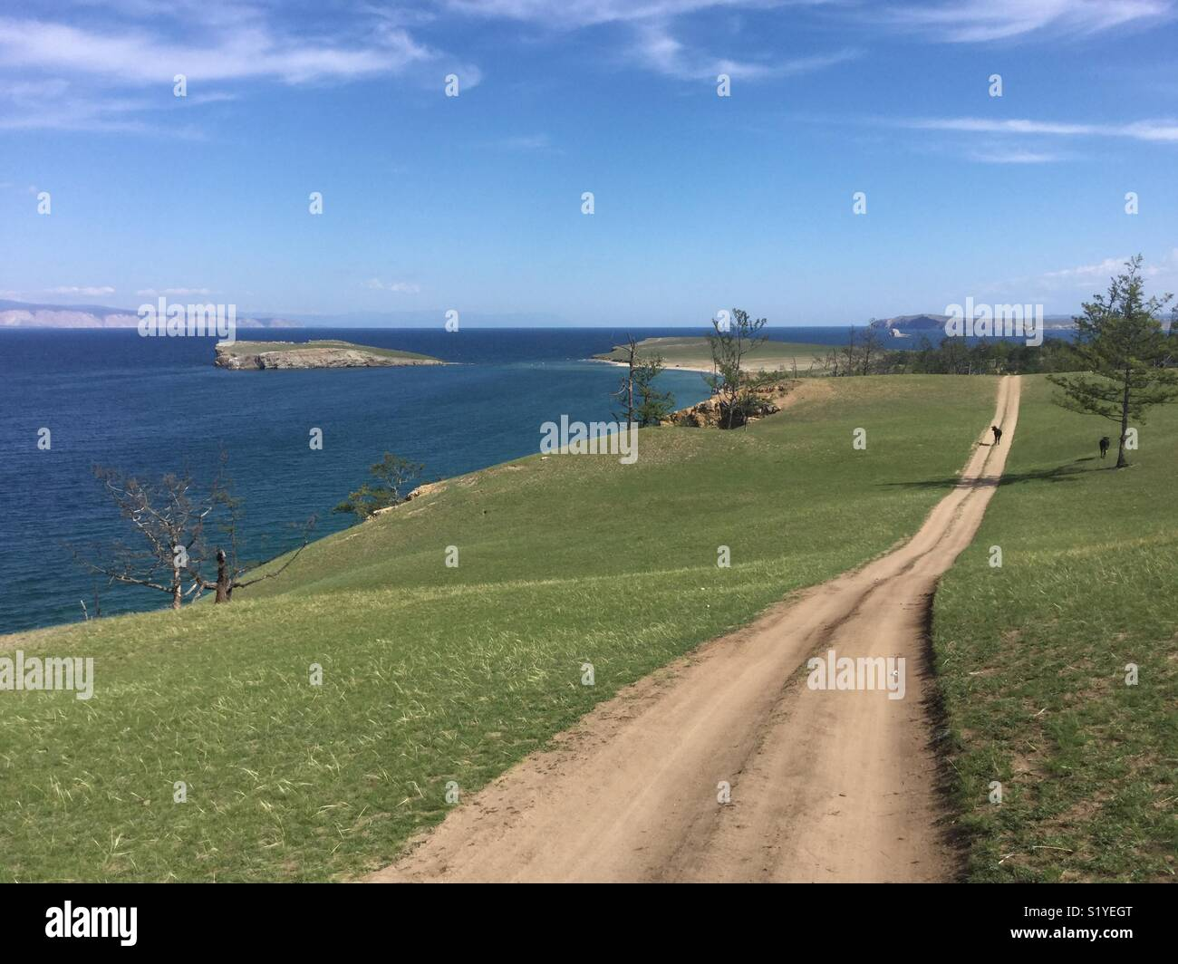 Olkhon island, empty road - Stock Image