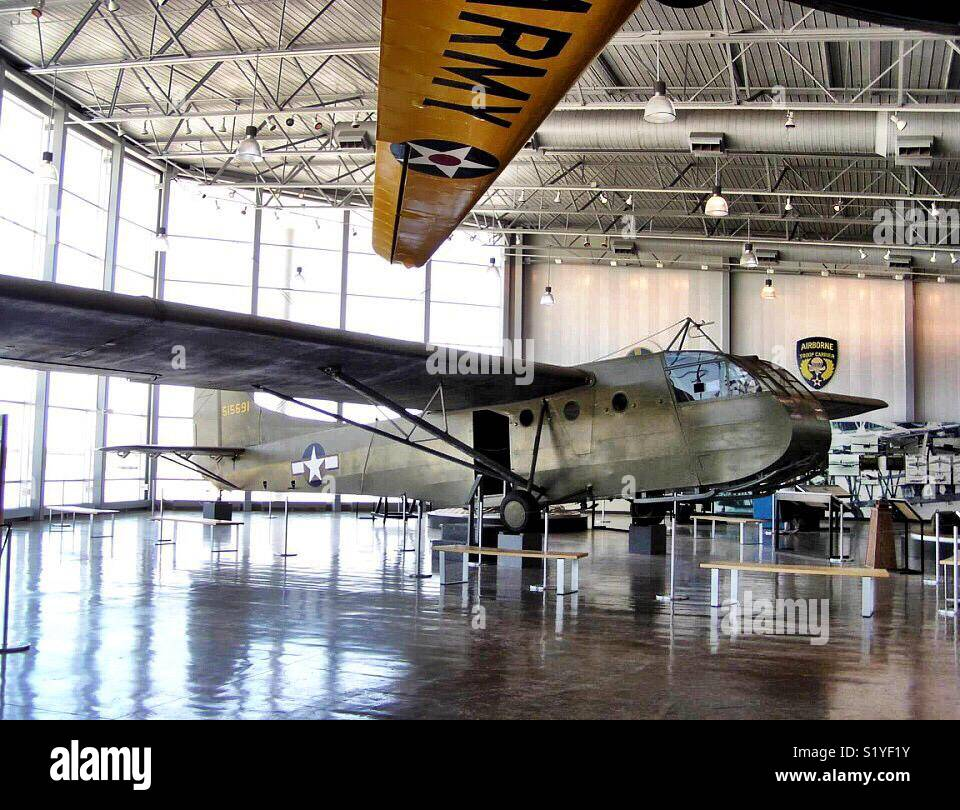 A CG-4A Waco military glider sits on display in the Silent Wings museum near Lubbock, TX.  The silent wings museum - Stock Image