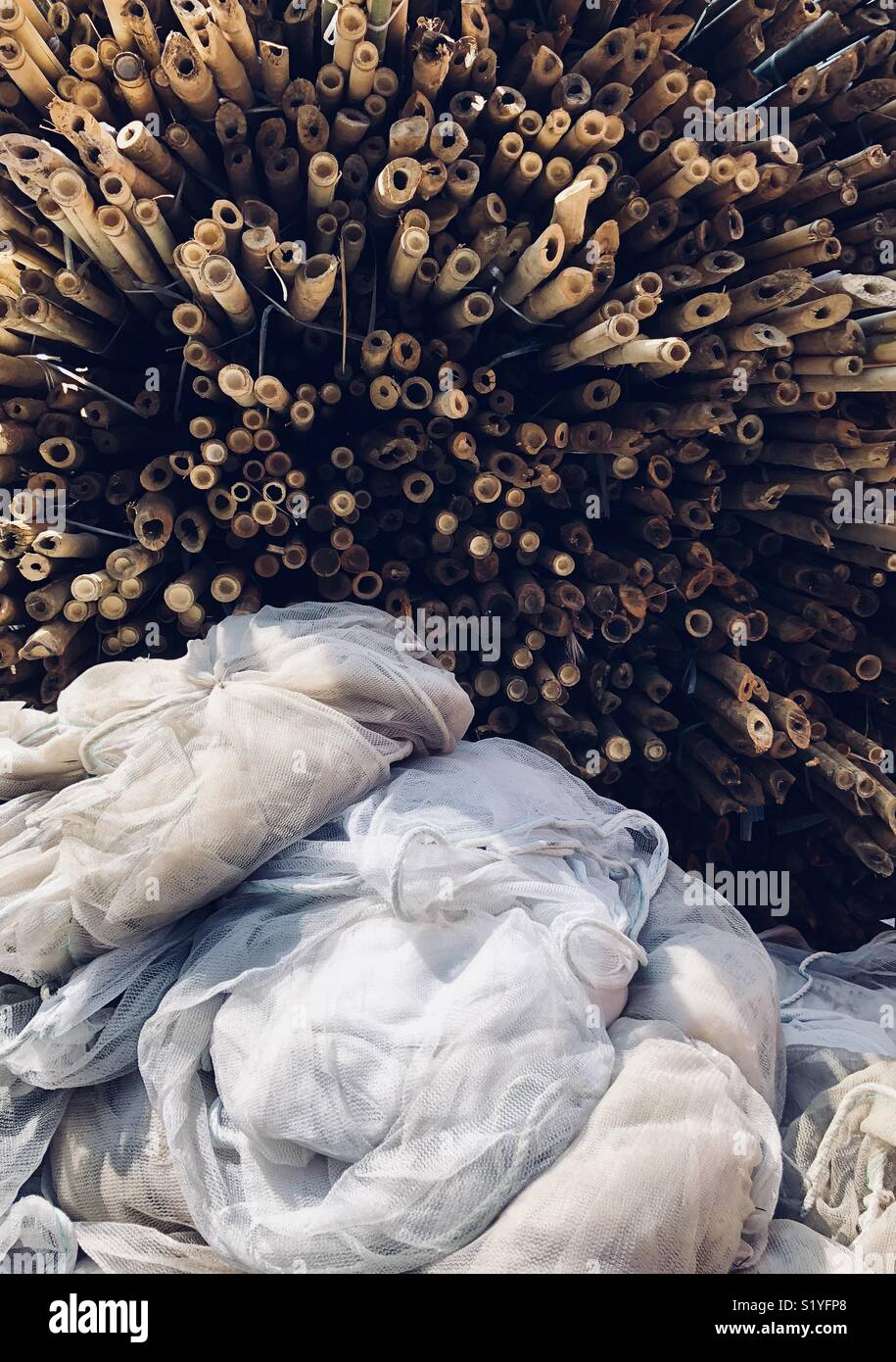 Textures from bamboo scaffolding in Hong Kong - Stock Image