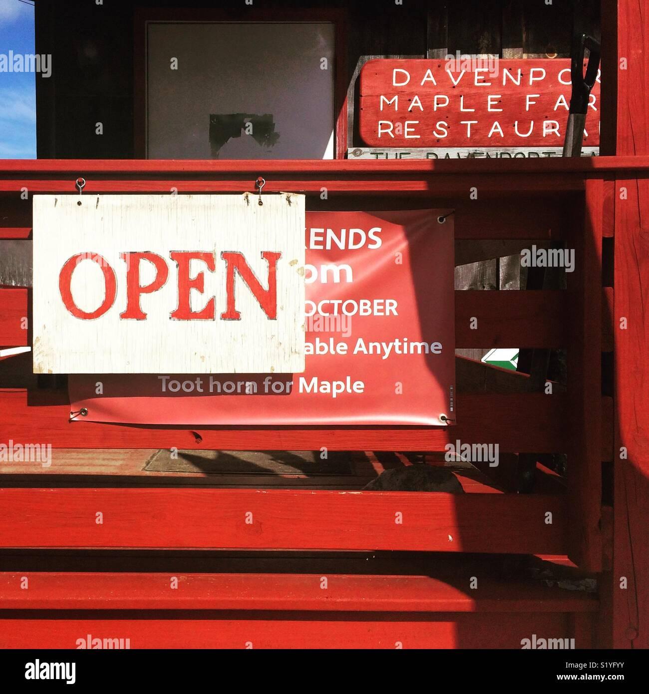 """""""Open"""" sign, Davenport Maple Farm Restaurant, Shelburne, Massachusetts - Stock Image"""