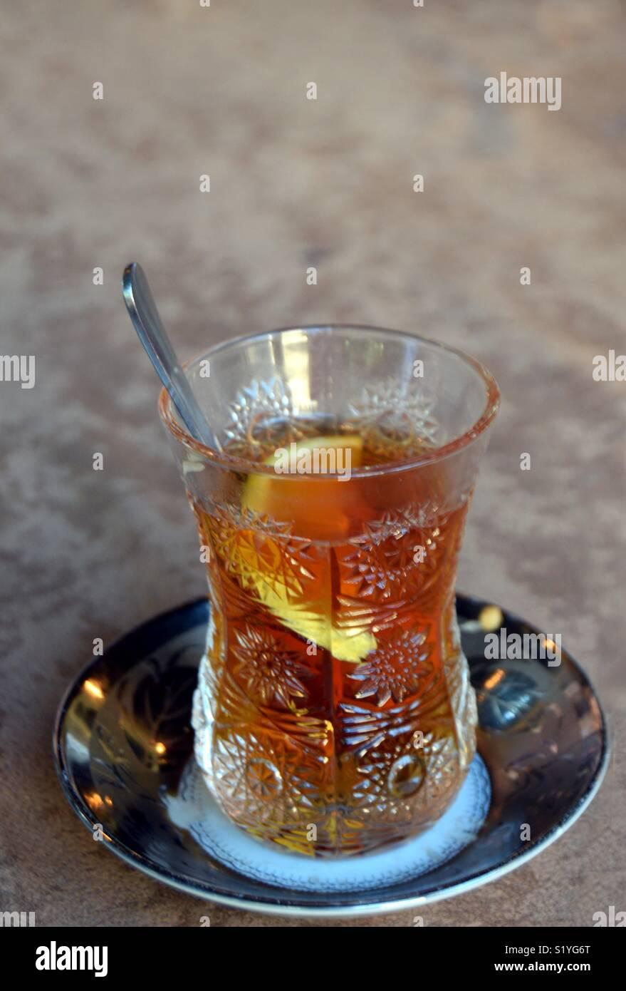 Traditional Azerbaijani tea - Stock Image