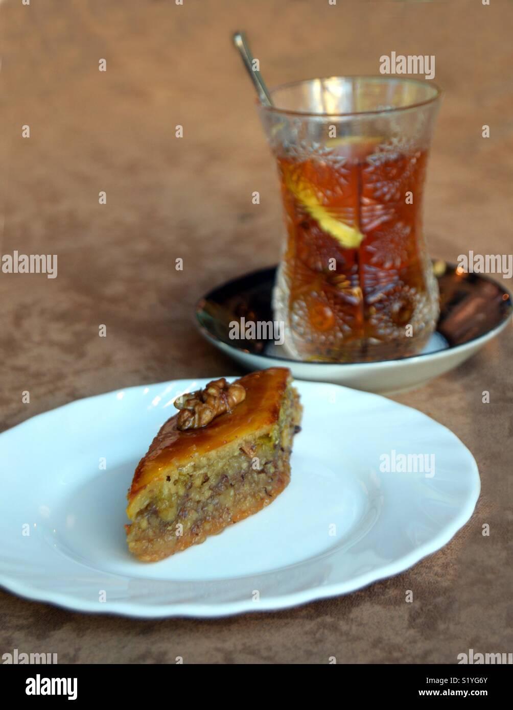 Traditional Azerbaijani baklava and tea - Stock Image