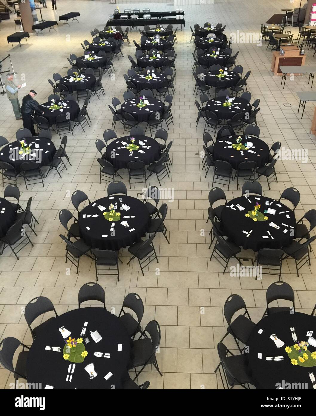 Setting up for a luncheon - Stock Image