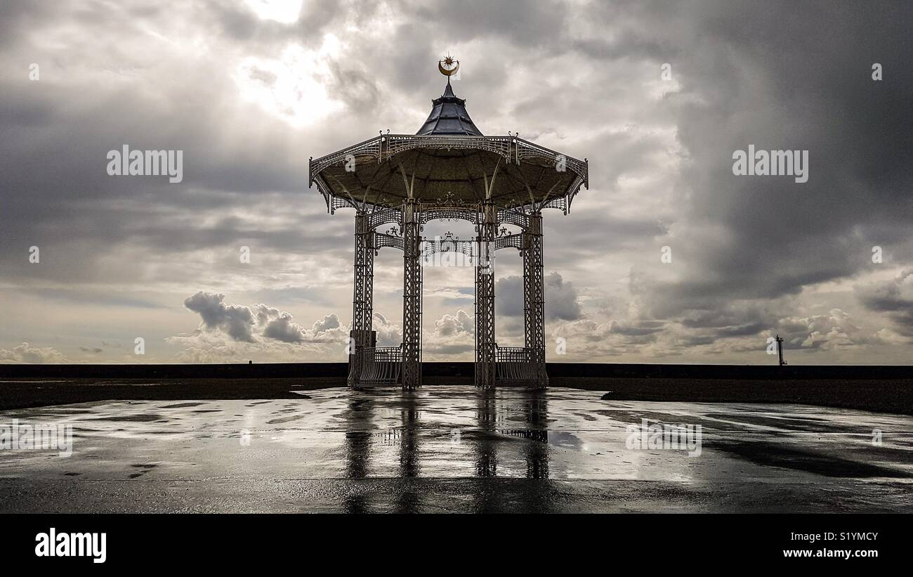 The bandstand at Southsea after a winter storm - Stock Image