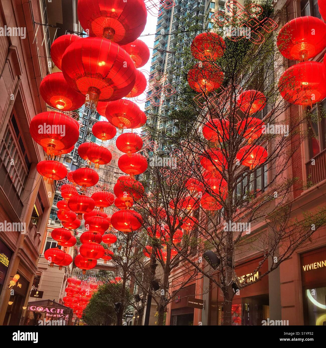 Red lanterns traditional decorations for chinese new year in lee red lanterns traditional decorations for chinese new year in lee tung avenue a shopping mall opened in 2015 on the site of old lee tung street wedding junglespirit Choice Image