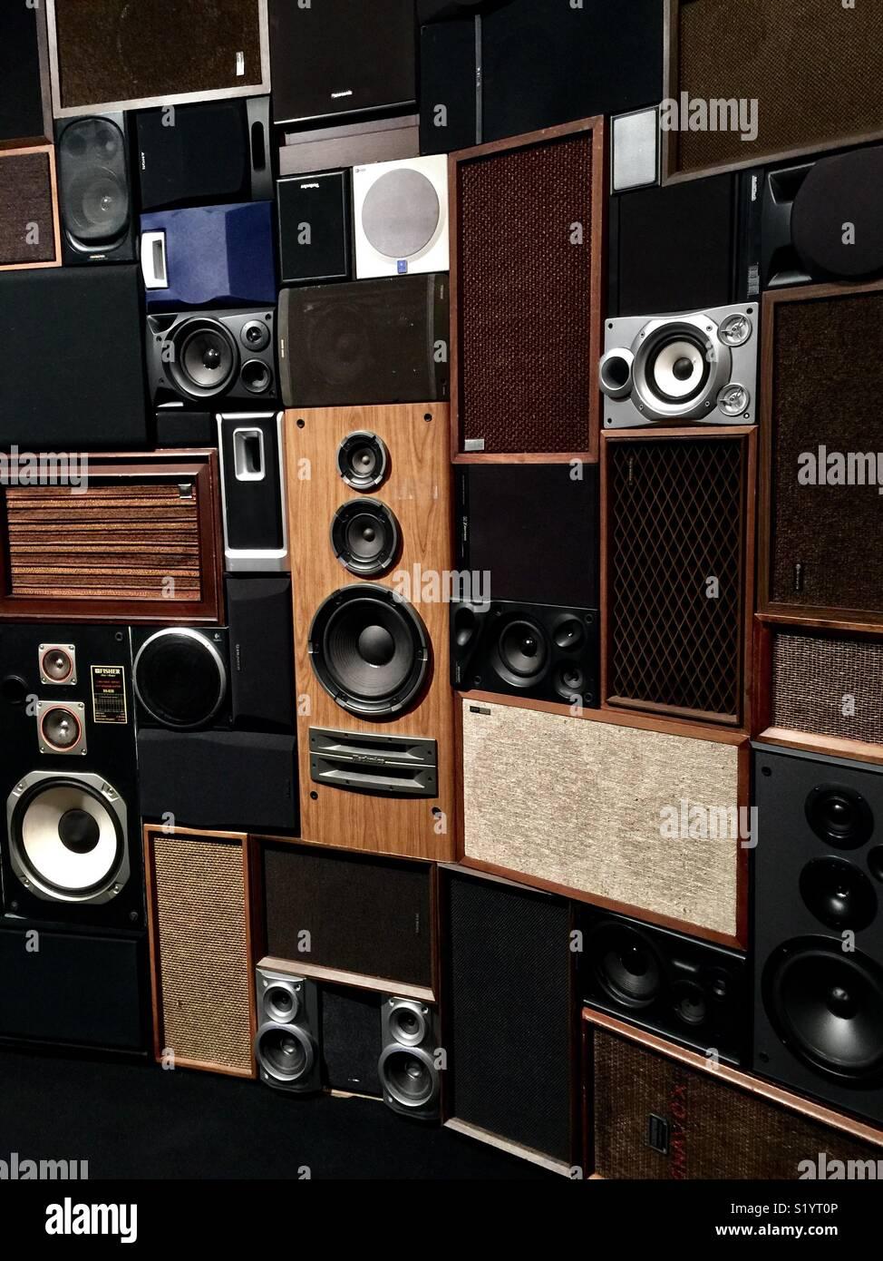 Speaker art installation. - Stock Image