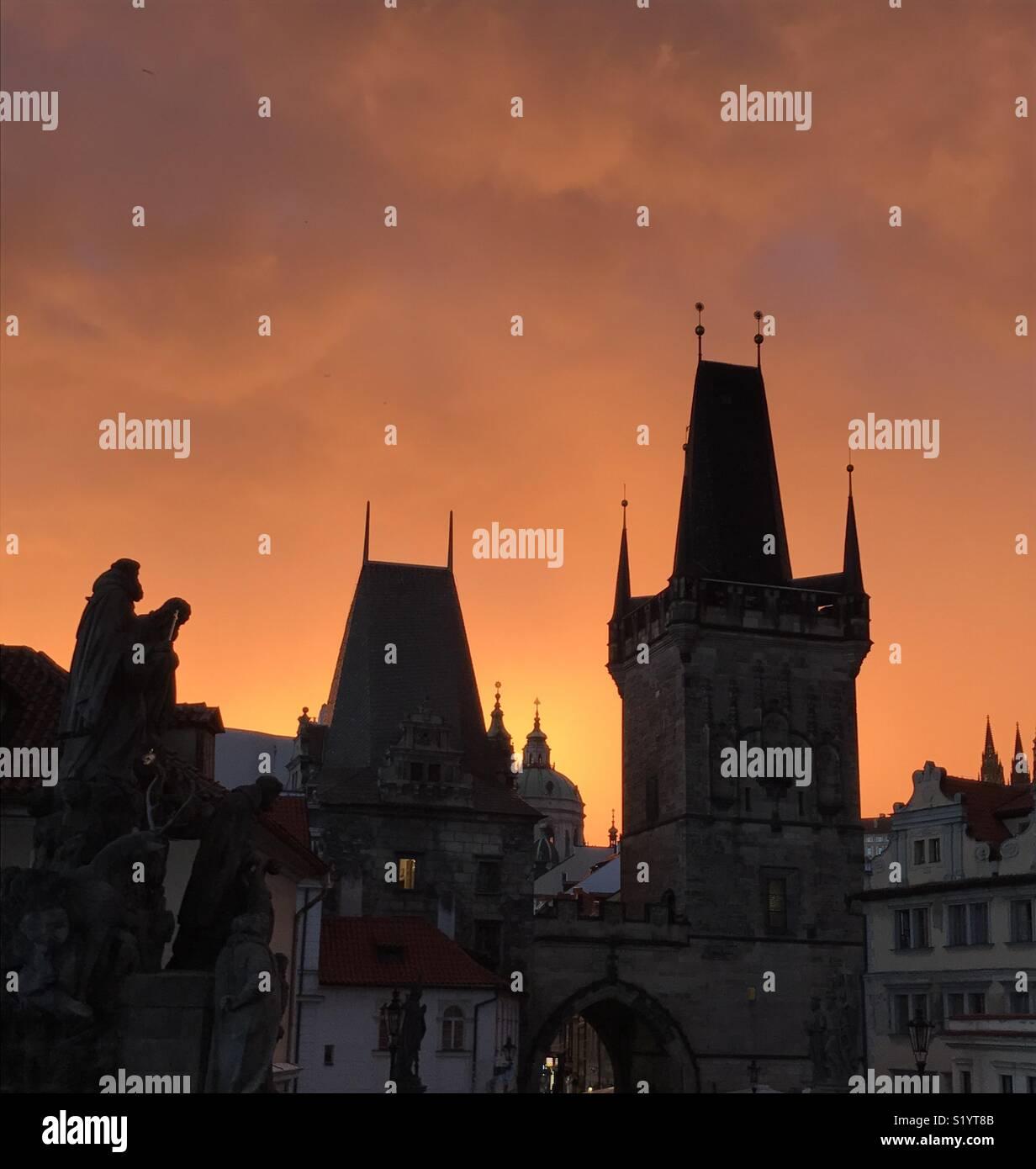 Amazing Sky in prague - Stock Image