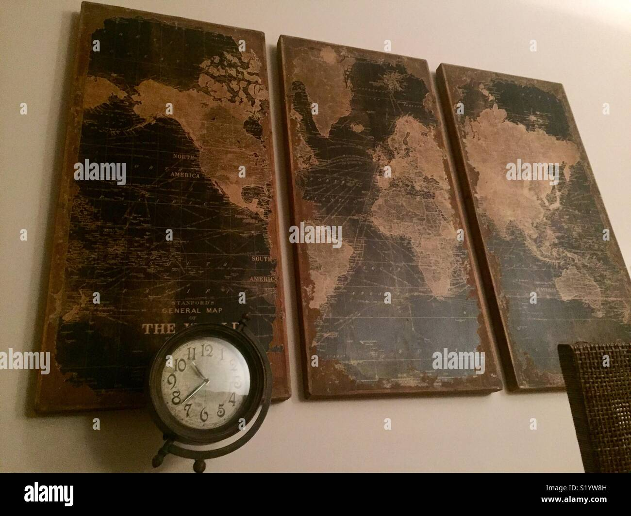 World map on old wall stock photos world map on old wall stock world traveler adventurer themed writers desk with on the wall an beautiful old world map made gumiabroncs Choice Image