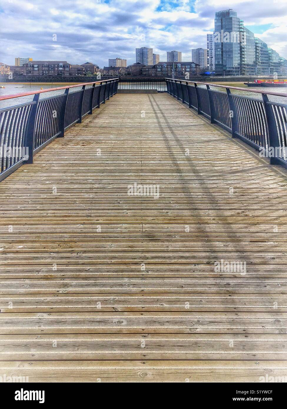 Pier on River Thames West Brompton London - Stock Image