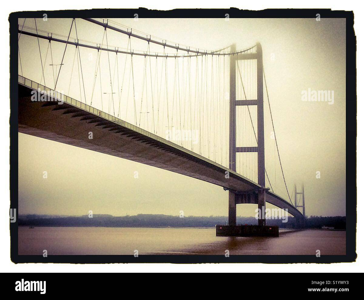 Monochromatic view of the Humber Bridge a Suspension Bridge linking Lincolnshire with East Yorkshire in northern England UK - Stock Image