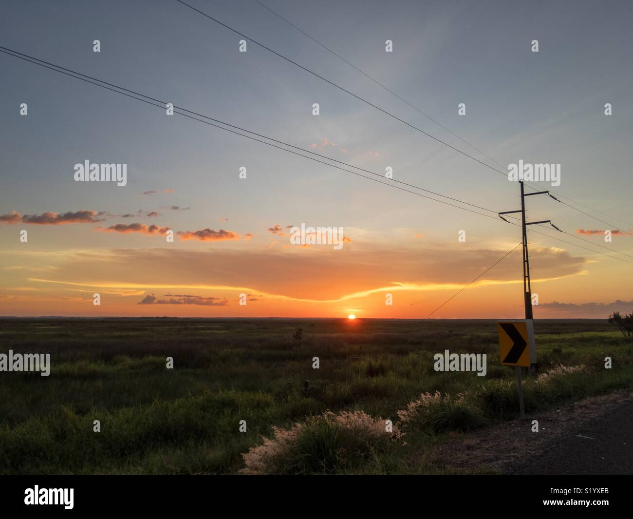 Sunset over the Adelaide River flood plains, Northern Territory, Australia. Stock Photo