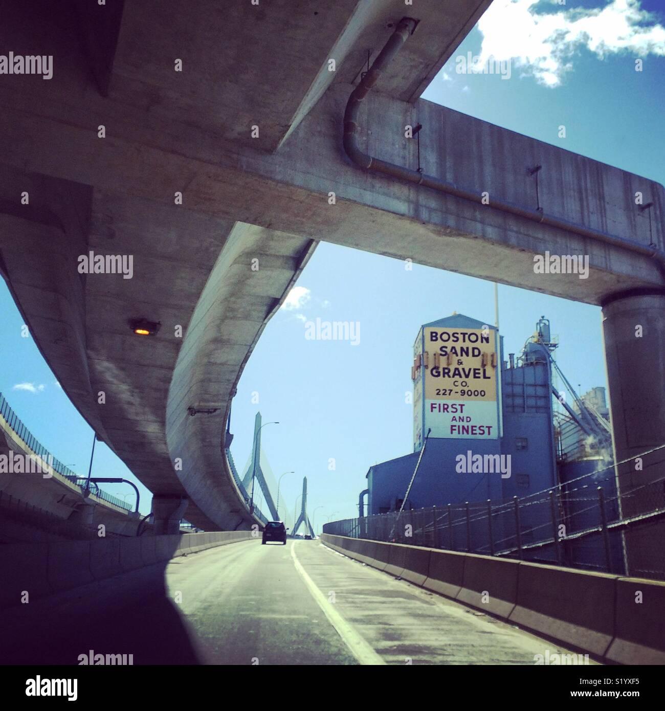 Driving into Boston, Massachusetts - Stock Image