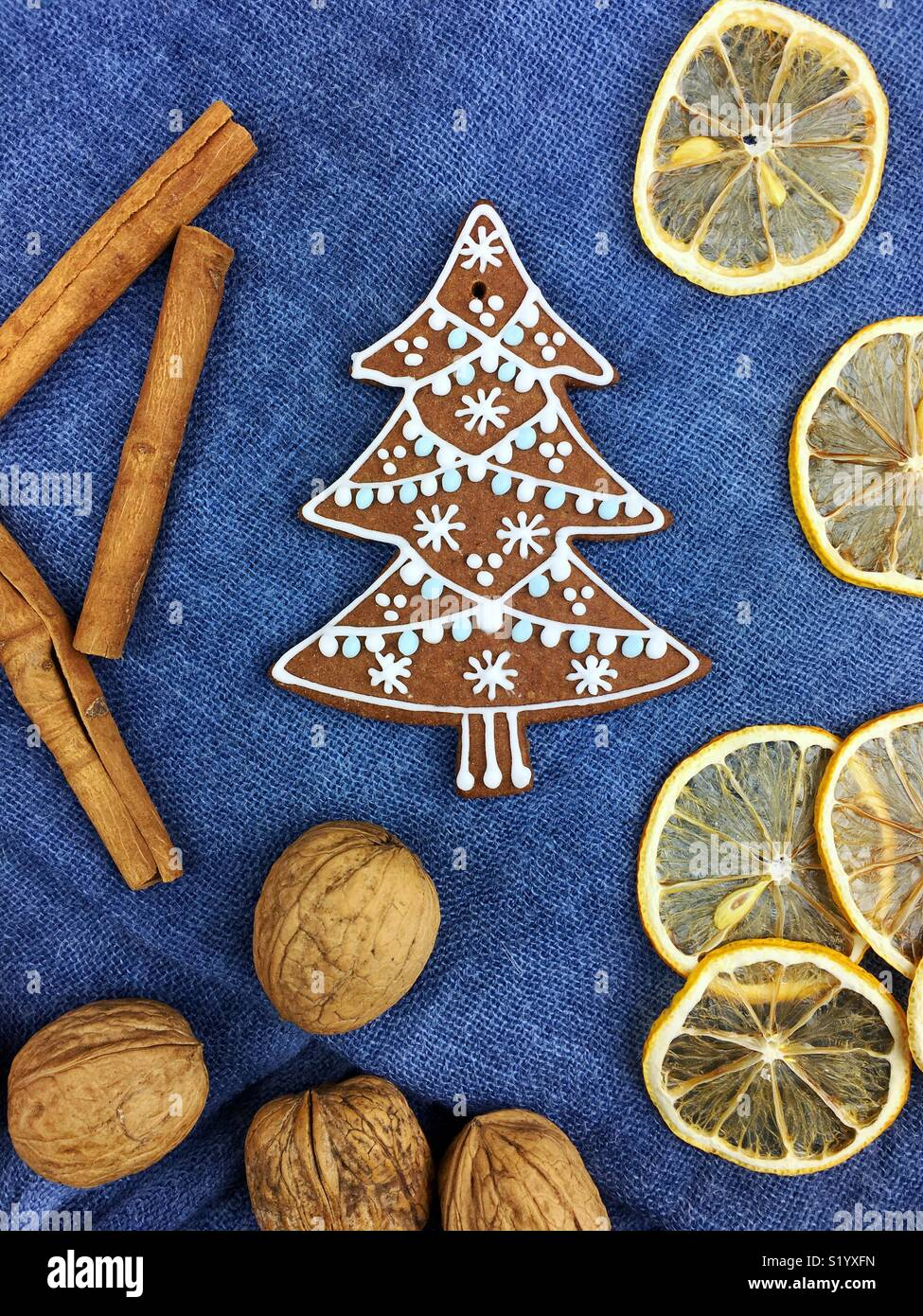 Gingerbread Christmas cookies decoration - Stock Image