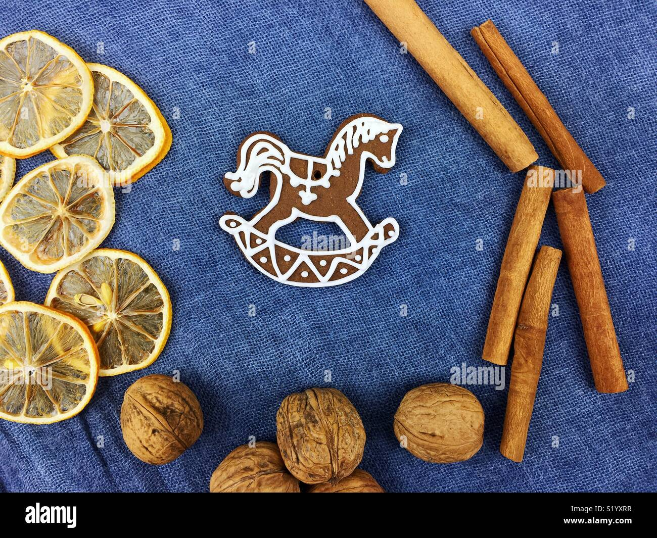Gingerbread Christmas cookies decoration Stock Photo