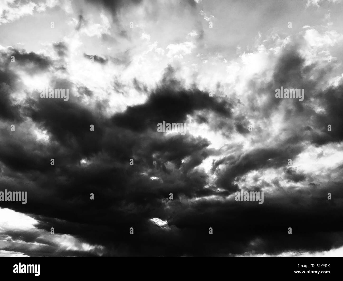 Clouds - Sky - Sunset - black and white - Stock Image