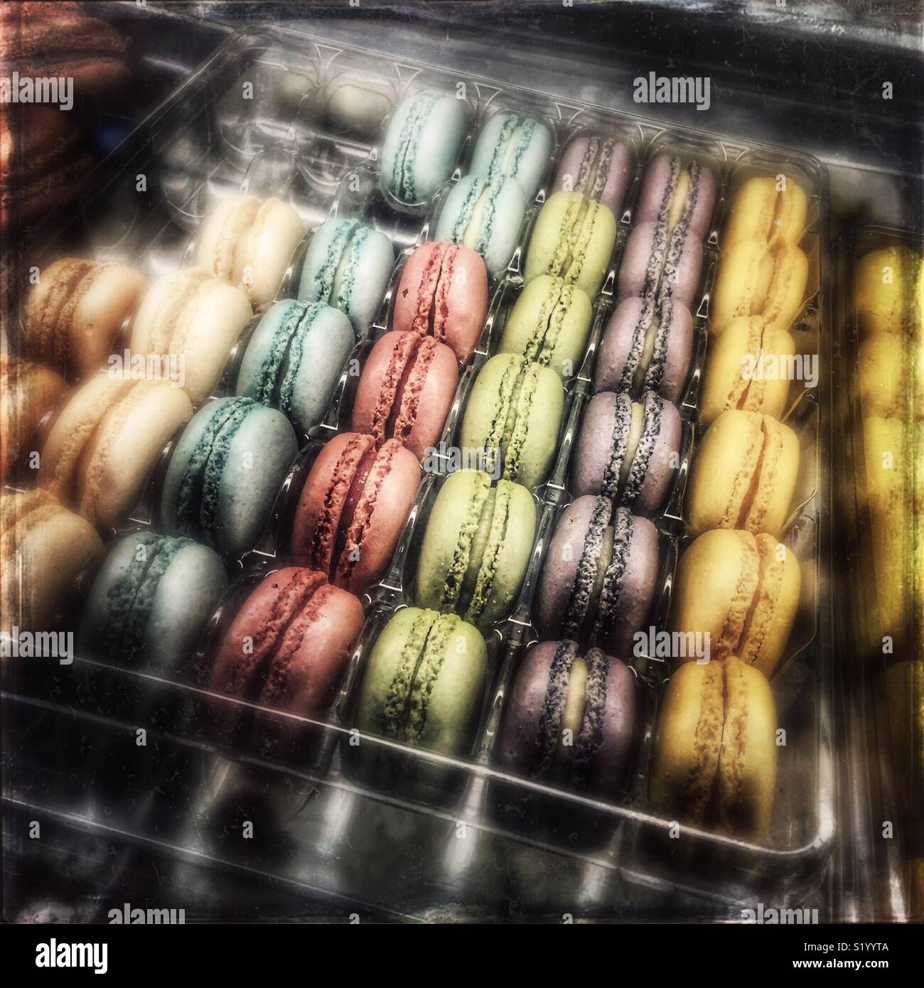 Macarons in a showcase - Stock Image