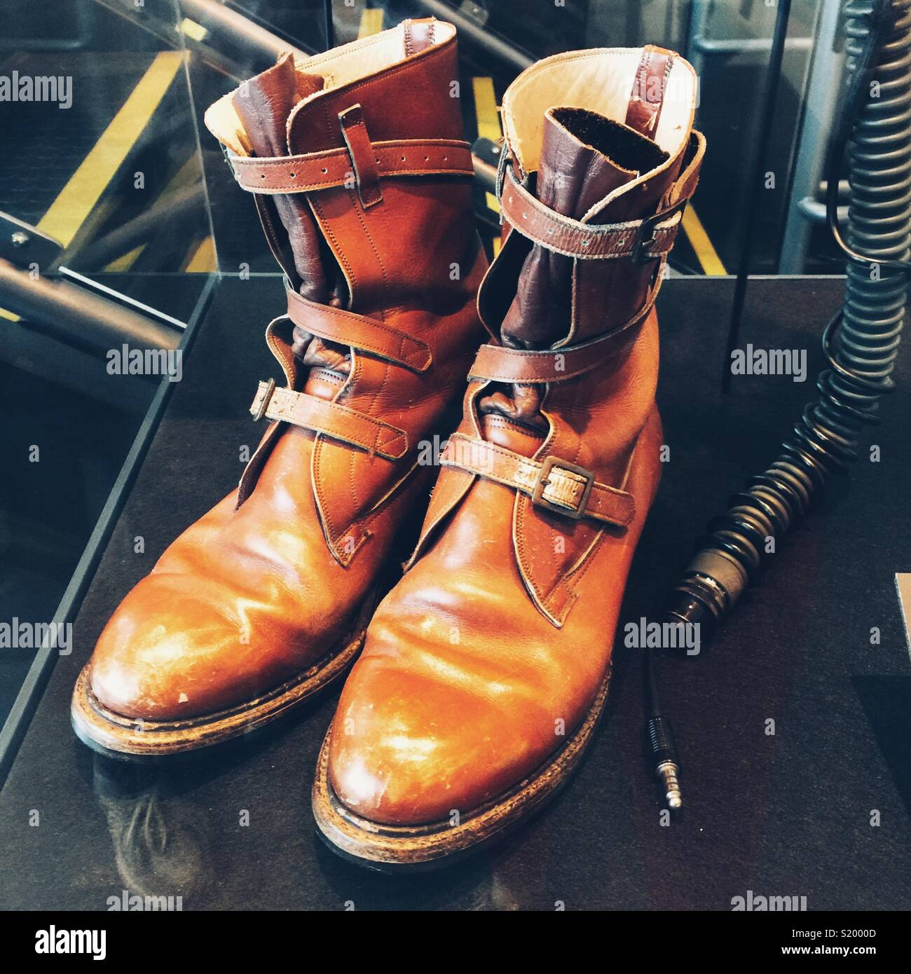 Vintage astronaut leather boots in museum of flight in Seattle - Stock Image