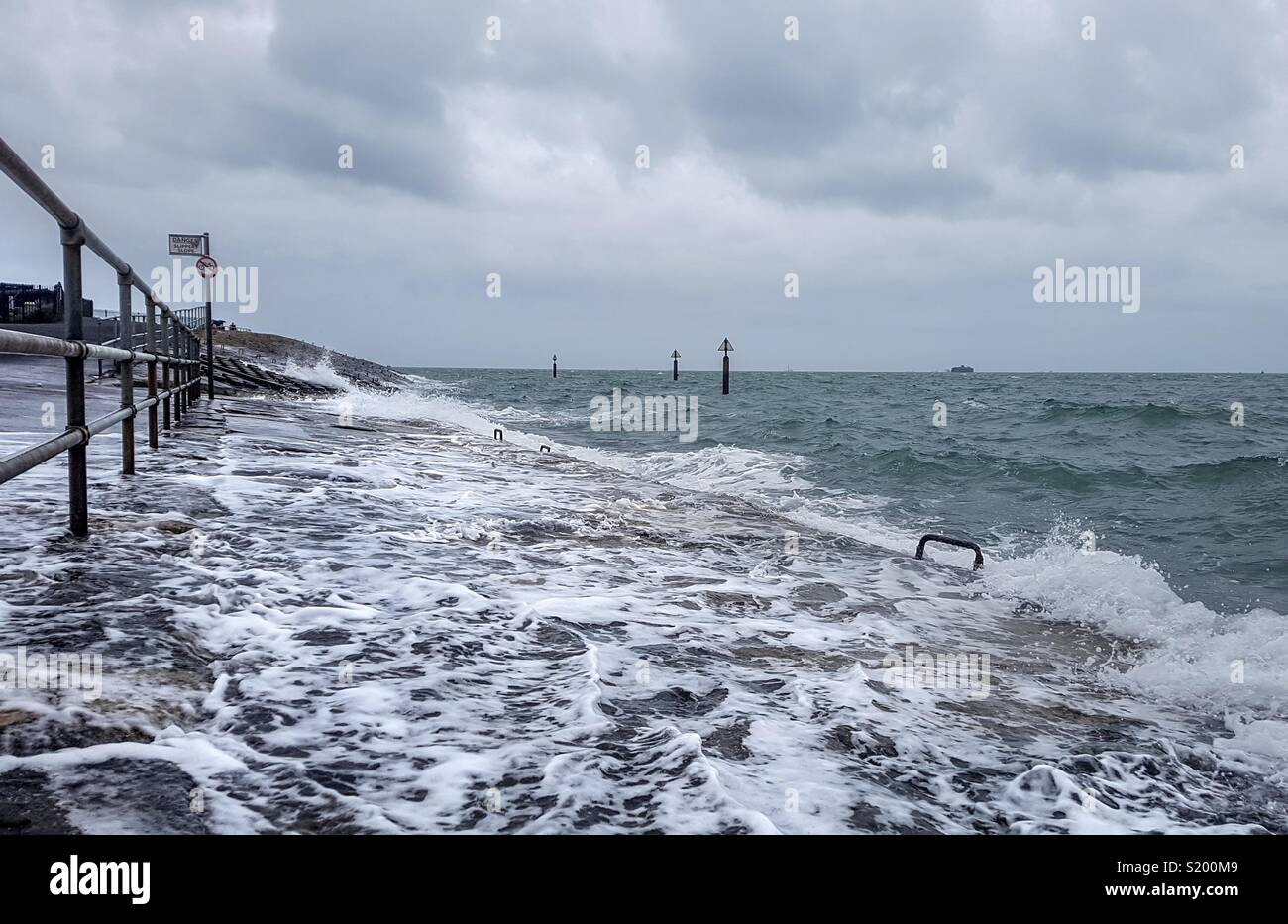 Rough Weather on Southsea Seafront Stock Photo
