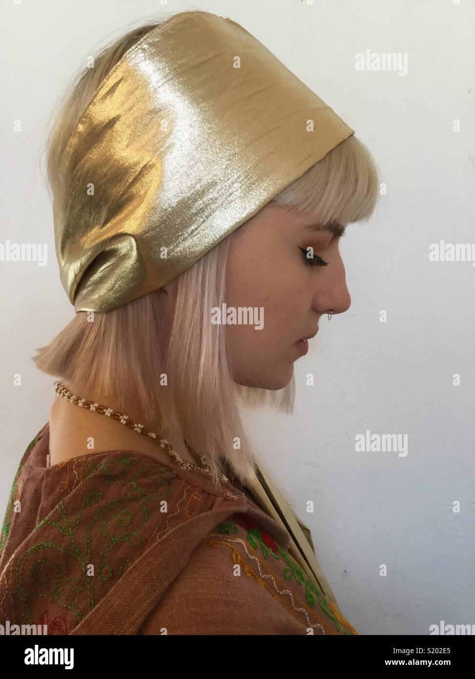 Gold Lame Scarf - Stock Image