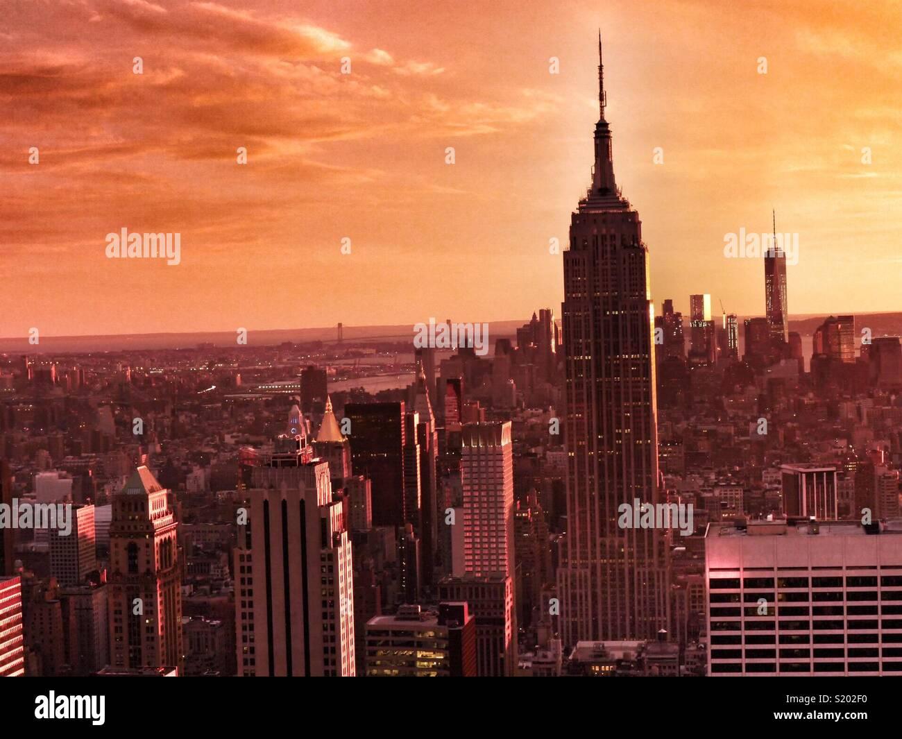 New York skyline at sunset, New York City, USA Stock Photo