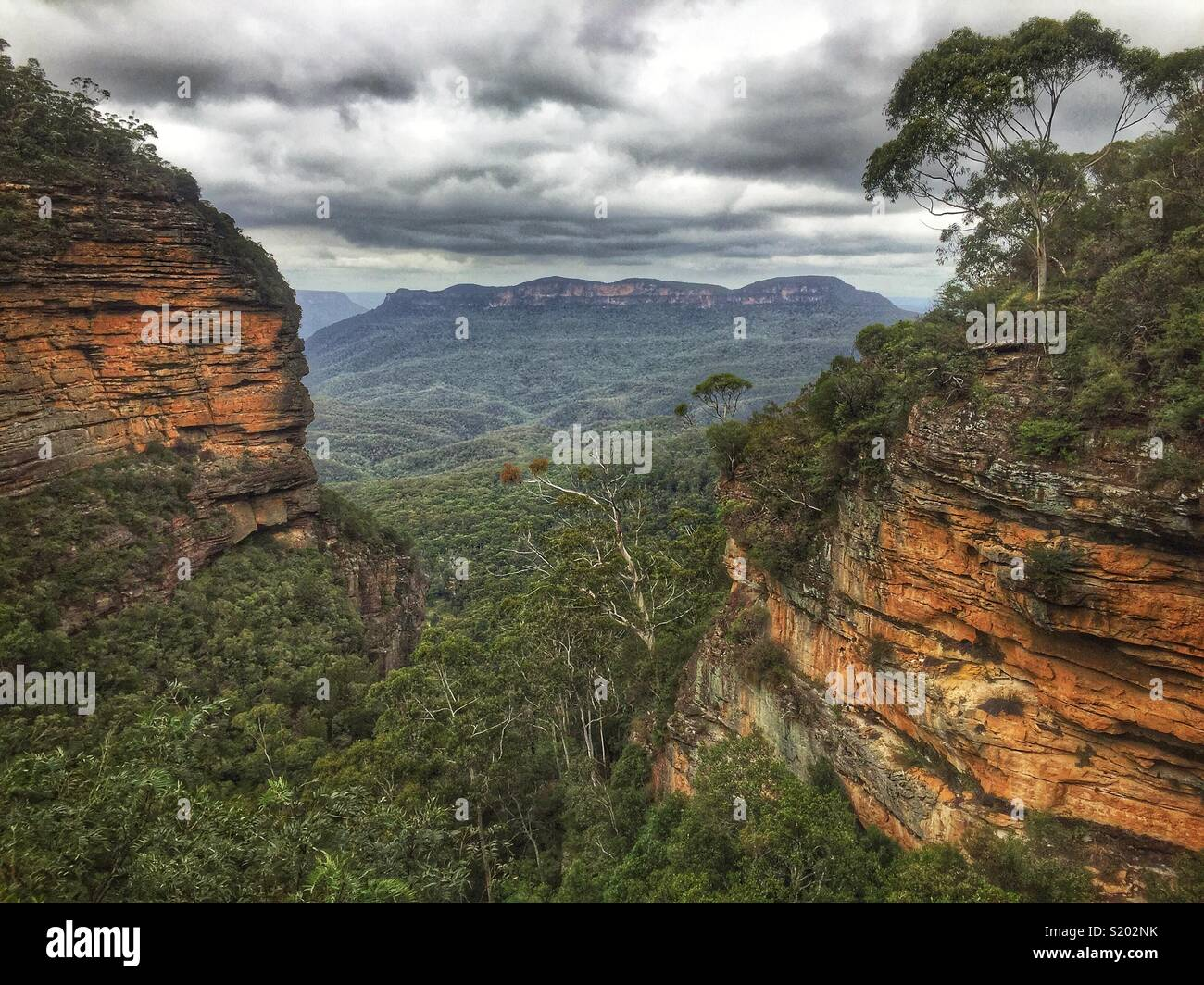 The Jamison Valley and Mount Solitary from Bridal Veil Lookout, Blue Mountains National Park, NSW, Australia - Stock Image