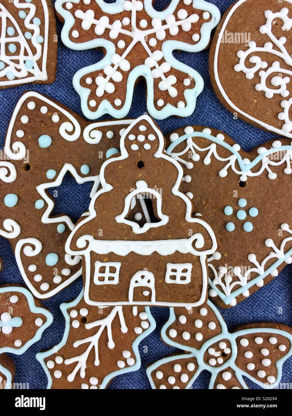 Christmas gingerbread cookies decoration - Stock Image