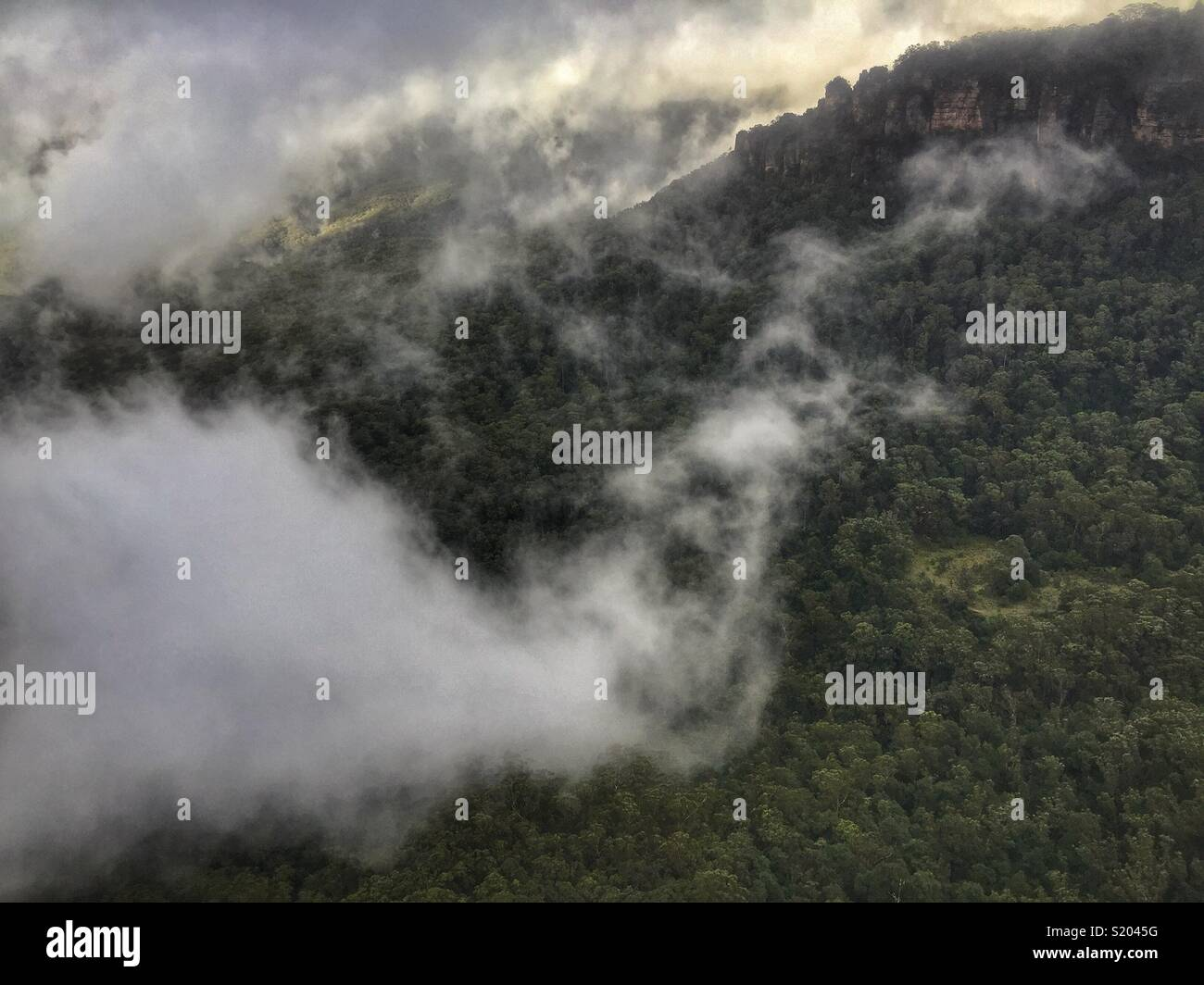 Low cloud swirls in the Jamison Valley below the sandstone cliffs from Elysian Rock Lookout to The Three Sisters, Blue Mountains National Park, NSW, Australia Stock Photo