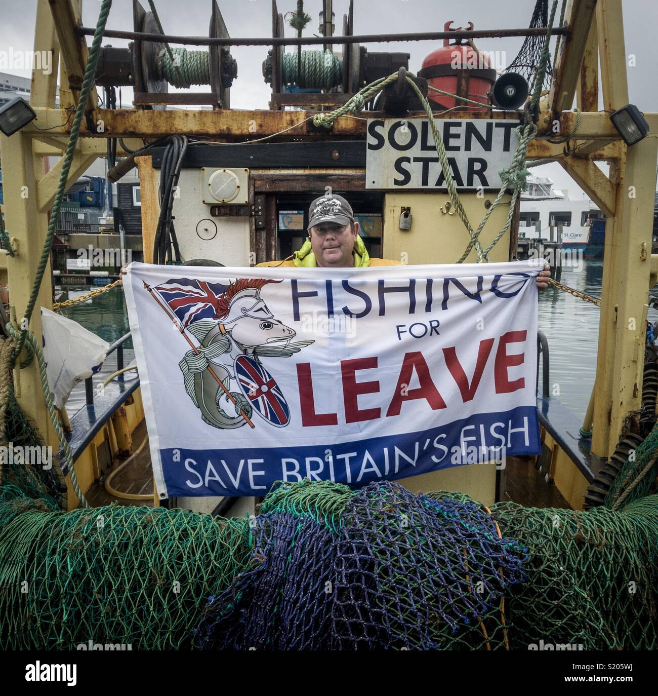 Portsmouth Fisherman protesting the Brexit deal which they believe will severely threaten their livelihoods - Stock Image