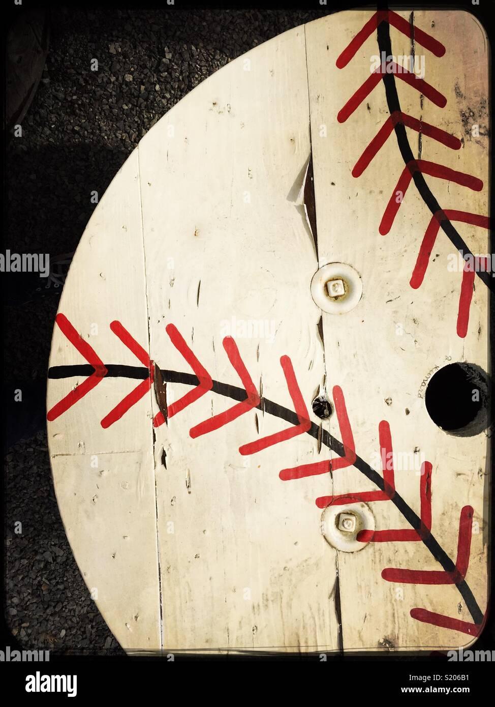 Wooden Spool Painted Like A Baseball Stock Photo 311020949 Alamy