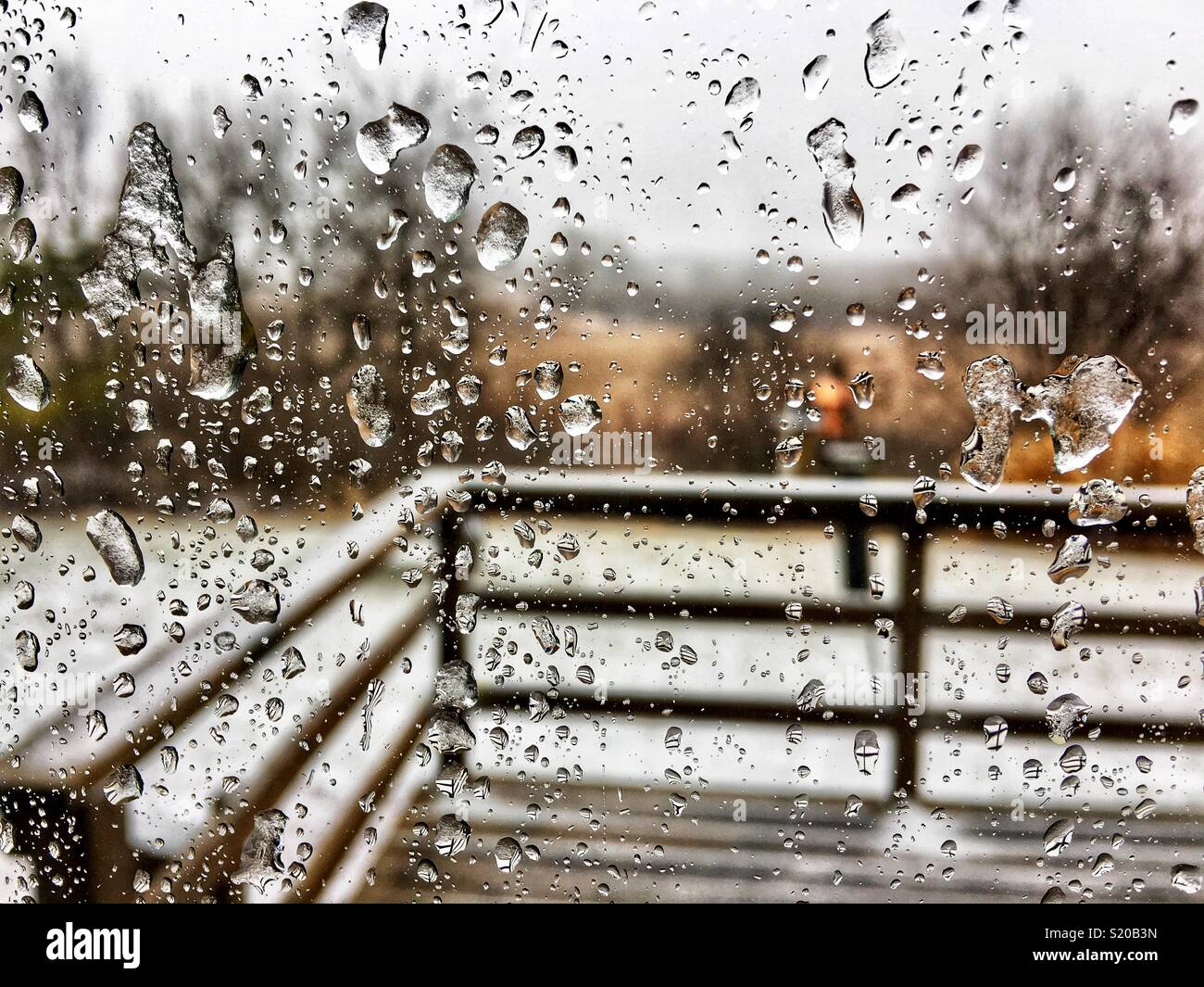 Ice on a window during ice storm - Stock Image