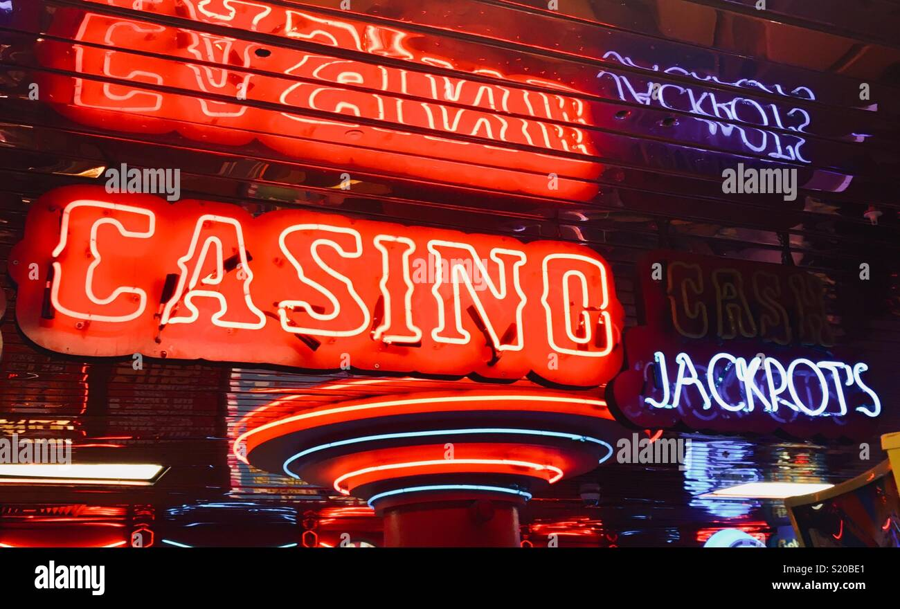 Casino and jackpot neon signs - Stock Image