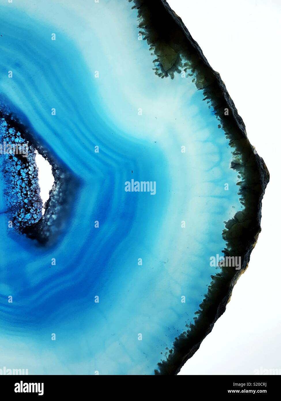 Closeup view of blue agate slice - Stock Image