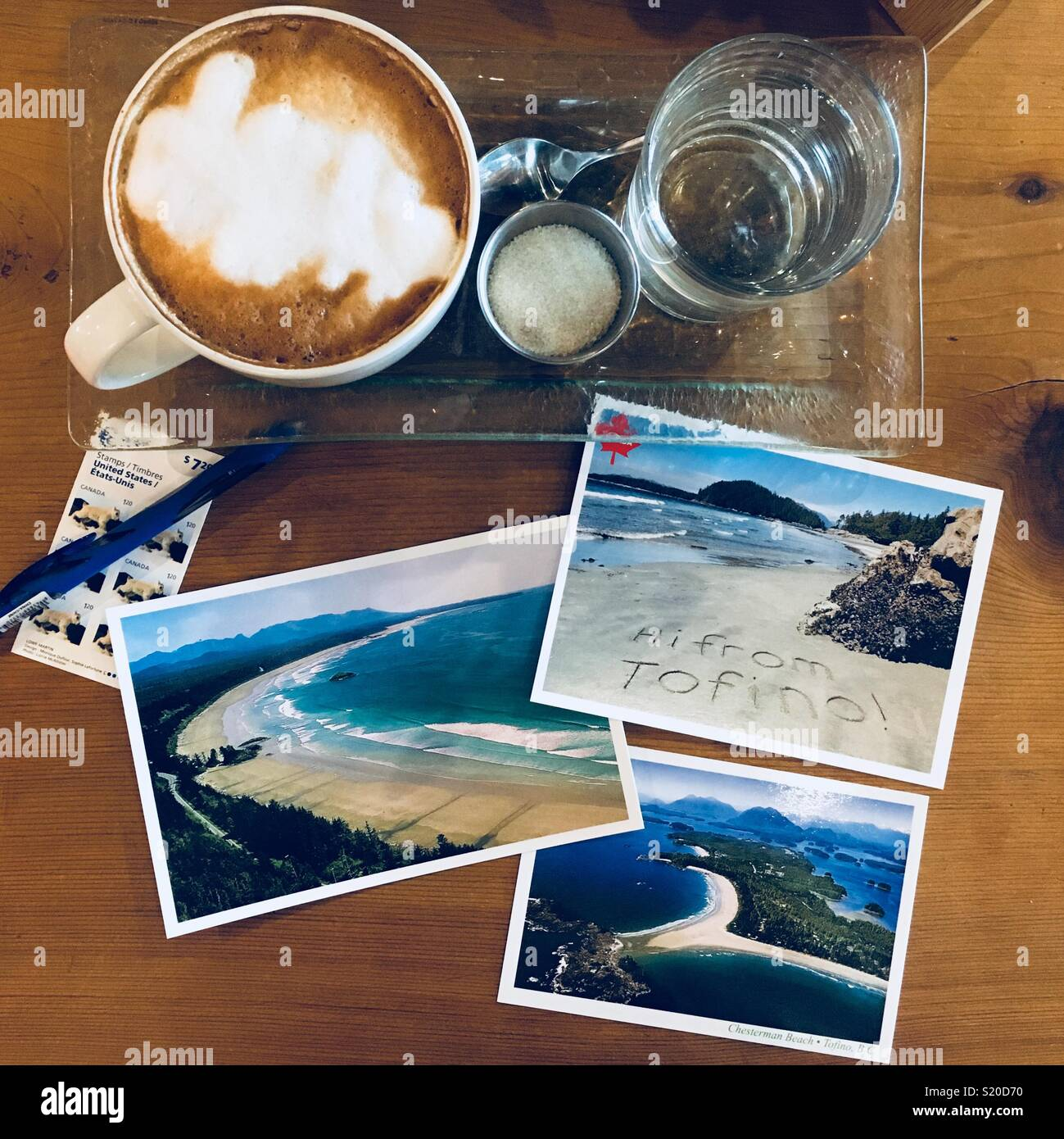 Postcards and coffee - Stock Image