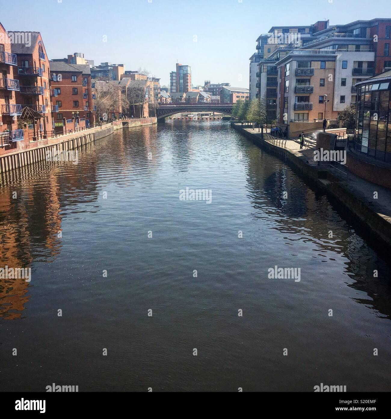 Leeds canal in the sun - Stock Image
