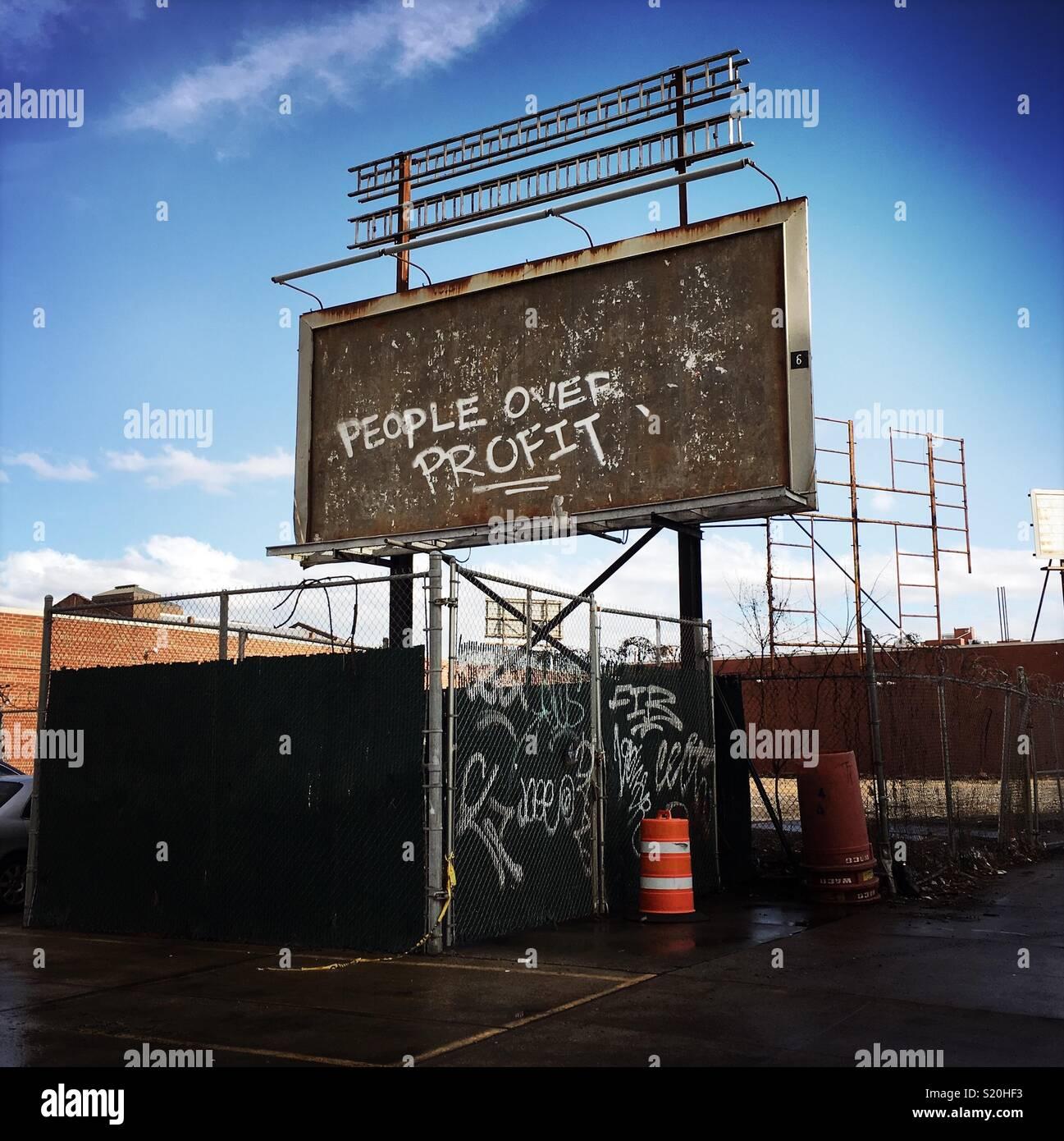 Political message written on billboard - Stock Image