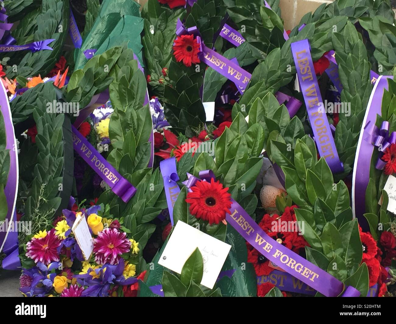 ANZAC day service 2018 wreaths layed at the War memorial Castle Hill. - Stock Image