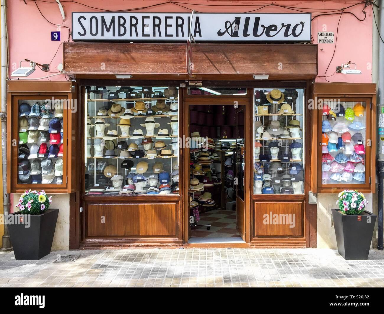 Sombrerería Albero ( millinery), in Valencia, Spain - Stock Image