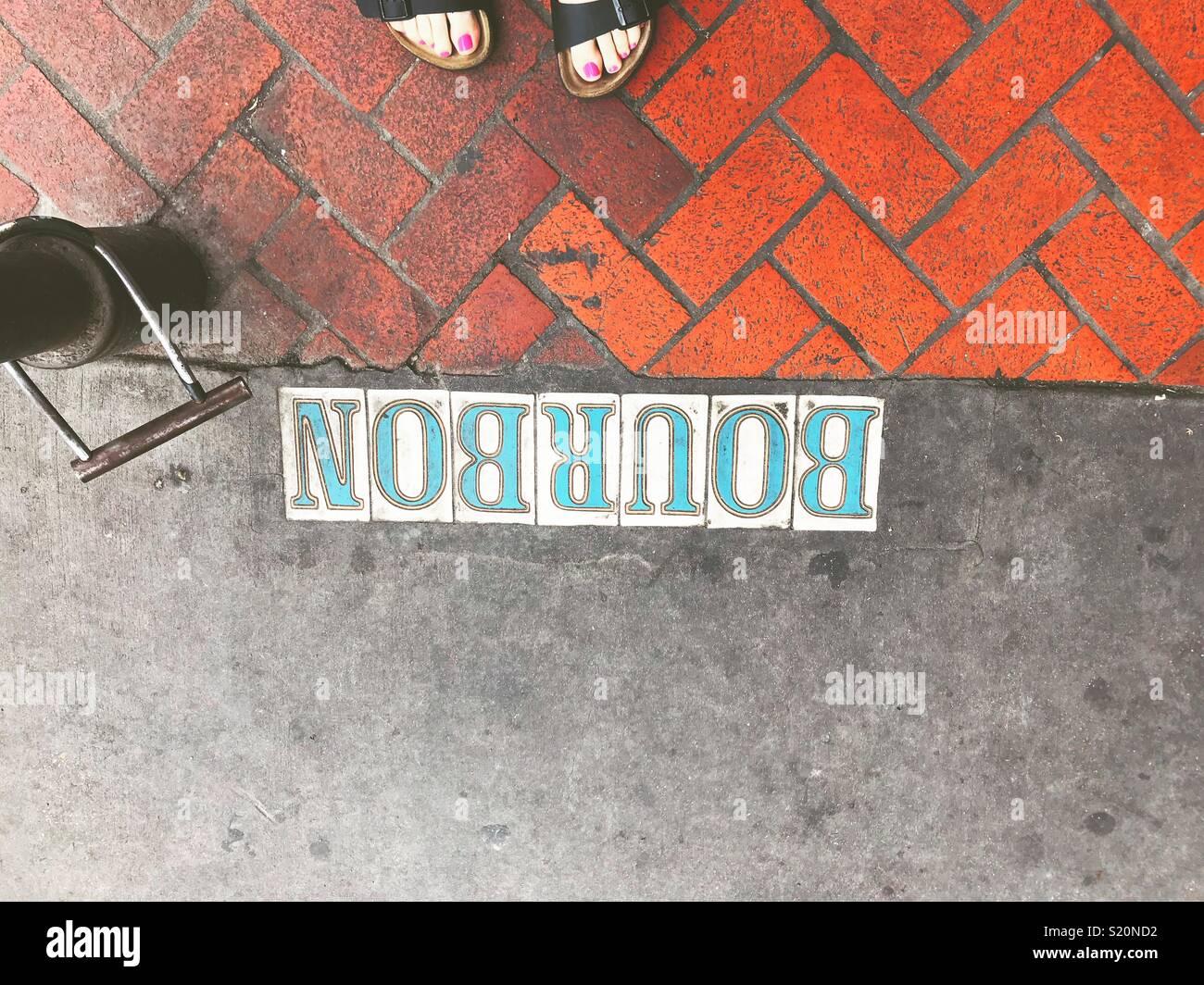Bourbon St, New Orleans - Stock Image