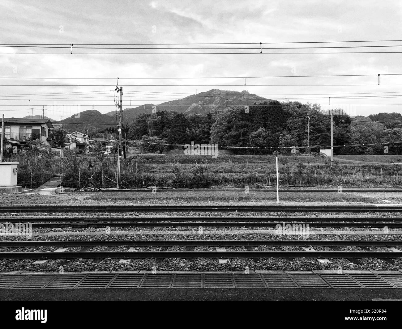 Train line and the mountains , Tsuge . Japan - Stock Image